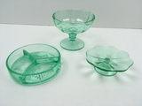 3 PCS OF GREEN VASELINE / URANIUM GLASSWARE