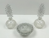 3 PCS OF CLEAR HOBNAIL VINTAGE GLASSWARE