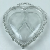 PADEN CITY LIDDED HEART SHAPED CANDY DISH CLEAR