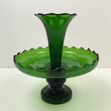 3 PC VIKING GLASS DARK GREEN EPERGNE