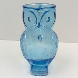 KANAWHA GLASS CO BLUE FIGURAL OWL PITCHER