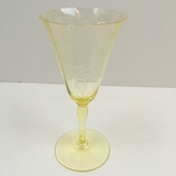 YELLOW ETCHED GLASS FLORAL BASKET STEM