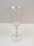 CLEAR ETCHED GLASS FLORAL SPRAY & BAND STEM