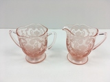 PINK ETCHED GLASS CREAMER & SUGAR