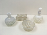 4 PCS OF WHITE OPALESCENT HOBNAIL
