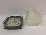 2 PCS OF VINTAGE GLASSWARE - CANDY DISH & PITCHER