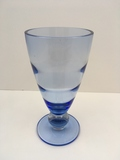 BLUE BLOWN GLASS ICE BLUE VASE WITH CLEAR BALL