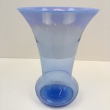 PERIWINKLE BLUE VASE WITH FLARED OPALESCENT TOP
