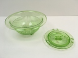 2 PCS OF GREEN VASELINE / URANIUM DEPRESSION GLASS