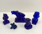 5 VINTAGE COBALT ANIMAL FIGURES - BOYD & CANDY