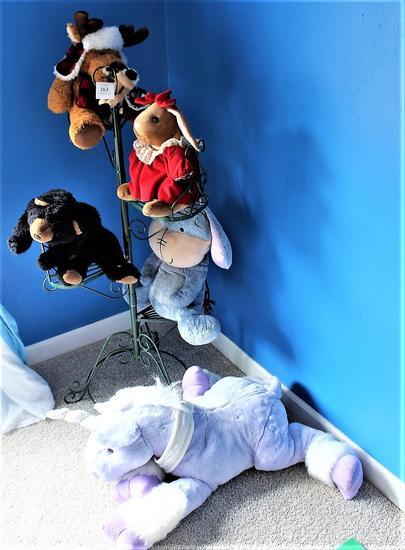 Stuffed Animals & Tiered Metal Stand