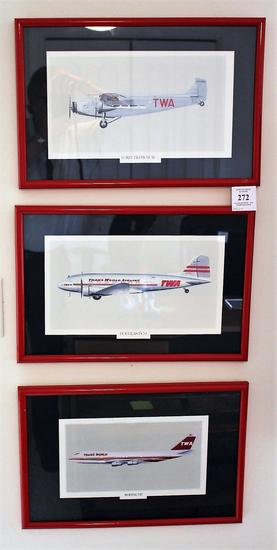 Three Twa Prints Of Historic Airliners