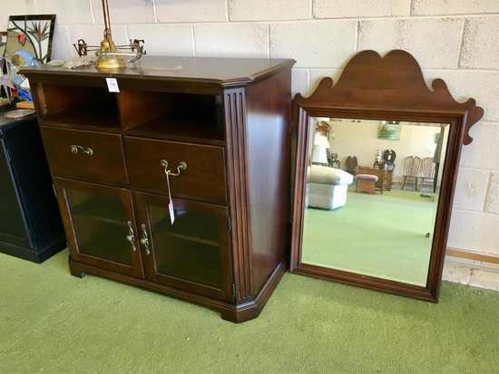 Mahogany Finish Electronics Component Cabinet