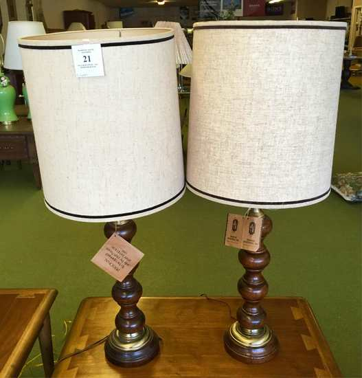 Two Wood And Brass Table Lamps
