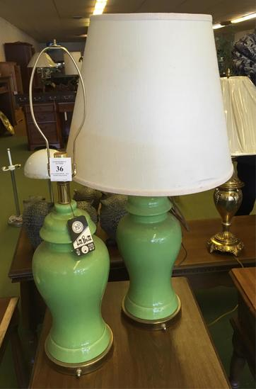 Two Green Table Lamps
