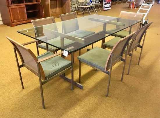 Glass And Chrome Dining Table With Six Chairs