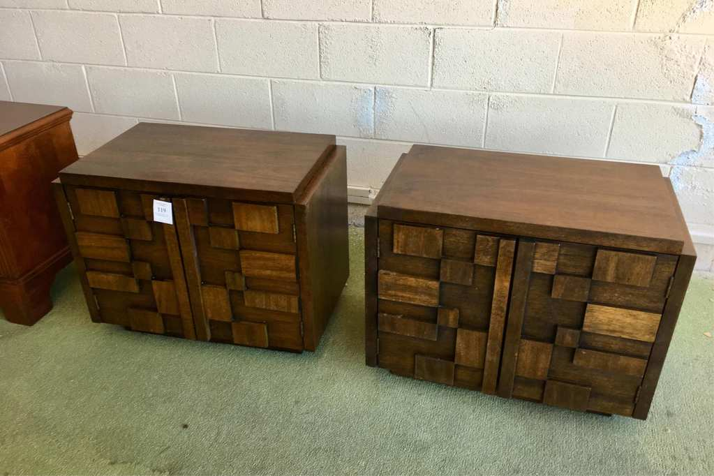 Pair Of Matching Block Front End Tables