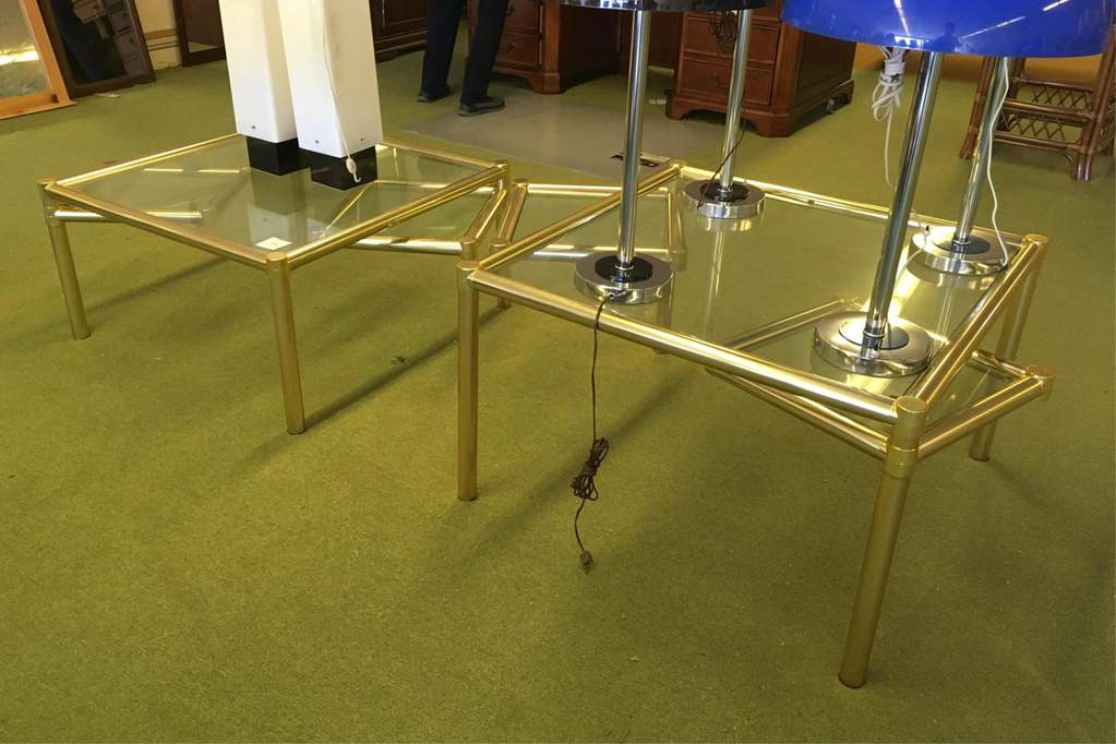 Pair Of Brass And Glass Tables