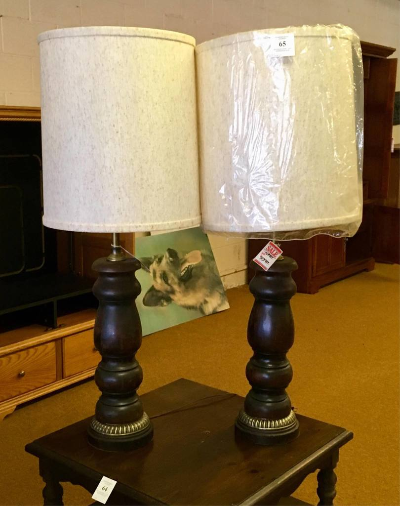Pair Of Wooden Table Lamps