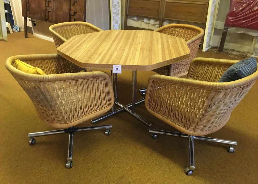 Octagonal Formica Pedestal Table And Four Chairs