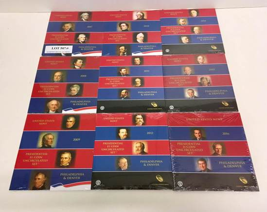 9 UNCIRCULATED $1 PRESIDENTIAL COIN SETS
