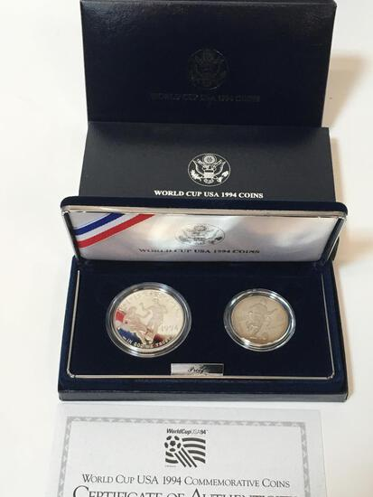 1994 WORLD CUP COIN - DOLLAR / HALF DOLLAR PROOF