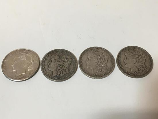 FOUR SILVER DOLLARS - 1 PEACE / 3 MORGANS
