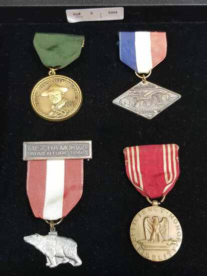 LOT OF 4 MEDALS WITH RIBBON