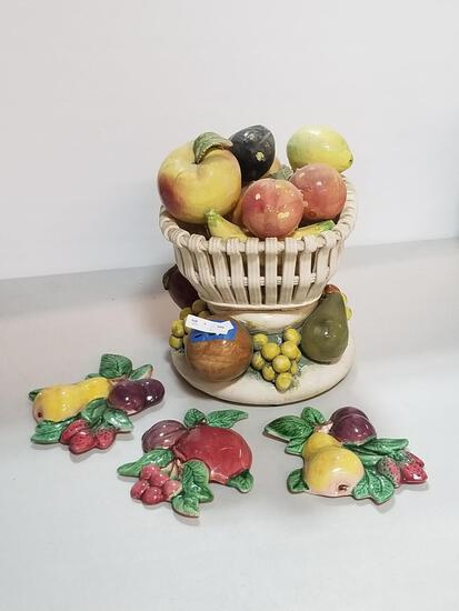 ASSORTED SET OF 5 CERAMIC FRUIT PIECES
