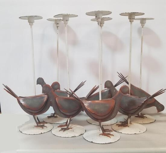 SET OF 7 PIGEON CANDLESTICK HOLDERS