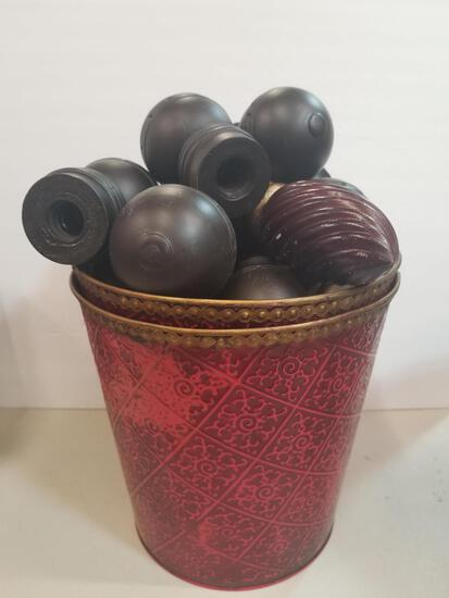 PAIR OF DEATILED RED BUCKETS & DECORATIVE FINIALS