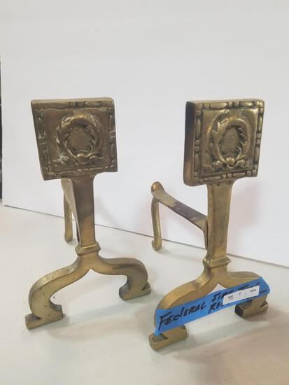 FEDERAL PAIR OF FIREPLACE ANDIRONS