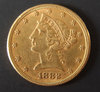 1882 $5 LIBERTY HEAD GOLD COIN