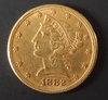 1882 $5 LIBERTY HEAD GOLD COIN