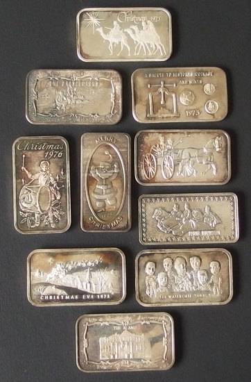 TEN (10) VINTAGE TROY 1 OUNCE SILVER BARS