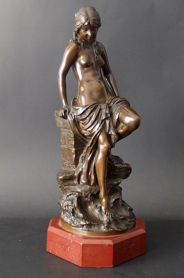 PAUL AICHELE ART NOUVEAU NYMPH BRONZE SCULPTURE