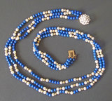 14KT GOLD, PEARL & LAPIS NECKLACE