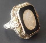 14KT GOLD ART NOUVEAU CAMEO RING