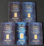FIVE (5)  0.5 GMS IGR GOLD BARS