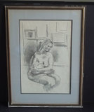 MOSES SOYER BLACK CHARCOAL DRAWING