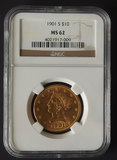 1901-S NGC MS-62 $10 GOLD EAGLE COIN