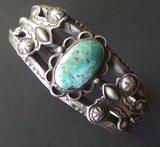 NAVAJO STERLING & TURQUOISE CUFF BRACELET