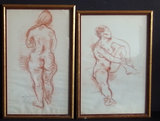 MOSES SOYER: PAIR OF NUDE PASTELS