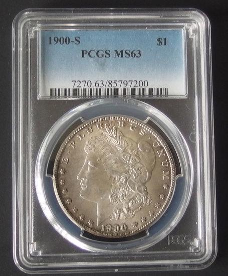 1900-S PCGS MS63 MORGAN SILVER DOLLAR COIN