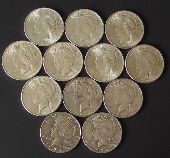 TWELVE (12) SILVER PEACE DOLLAR COINS