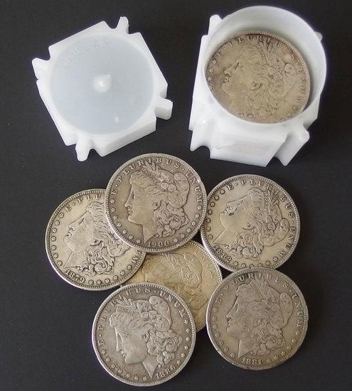 TUBE OF 20 MORGAN SILVER DOLLAR COINS