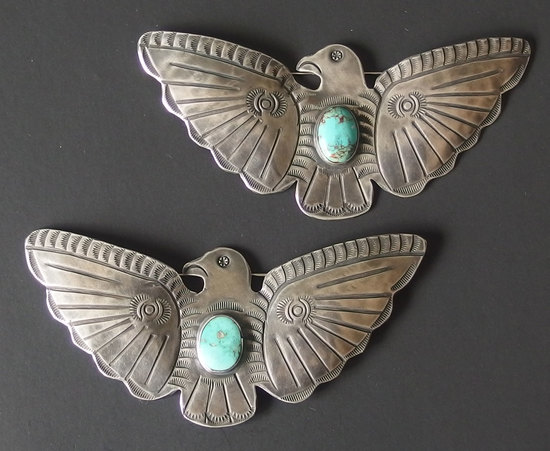 TWO (2) EARLY NAVAJO STERLING THUNDERBIRD BROOCHES
