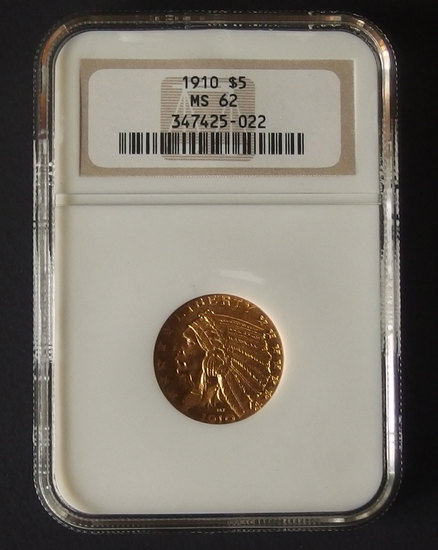 1910 $5 NGC MS62 INDIAN HEAD GOLD COIN