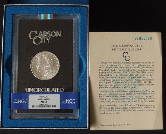 1881-CC GSA UNCIRCULATED MORGAN SILVER DOLLAR COIN