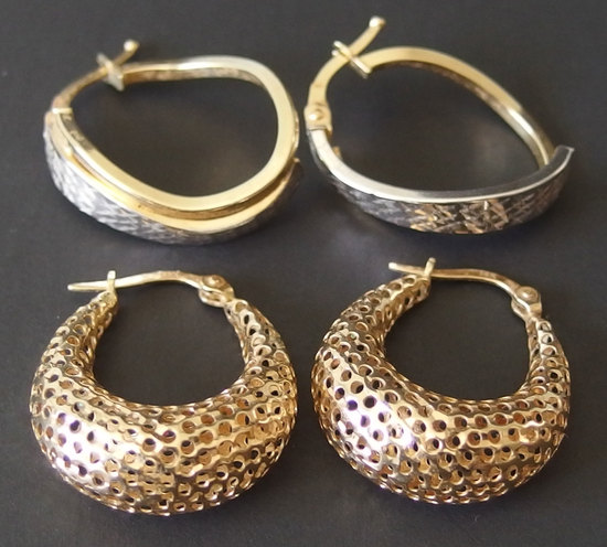 14KT GOLD EARRINGS (2 PAIRS)